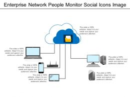 Enterprise Network People Monitor Social Icons Image