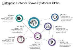 Enterprise Network Shown By Monitor Globe