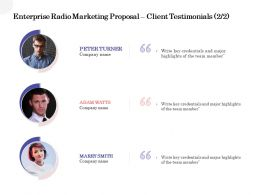 Enterprise Radio Marketing Proposal Client Testimonials Ppt Powerpoint Ideas Slides
