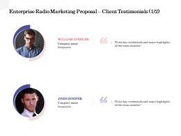 Enterprise Radio Marketing Proposal Client Testimonials Teamwork Ppt Powerpoint Good