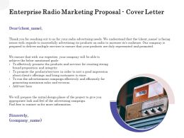 Enterprise Radio Marketing Proposal Cover Letter Ppt Powerpoint Ideas Background