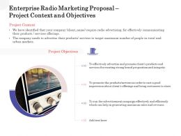 Enterprise Radio Marketing Proposal Project Context And Objectives Ppt Designs
