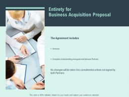 Entirety For Business Acquisition Proposal Agenda Ppt Powerpoint Slides