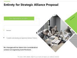 Entirety For Strategic Alliance Proposal Teamwork Ppt Powerpoint Slides
