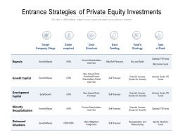 Entrance Strategies Of Private Equity Investments