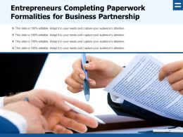Entrepreneurs Completing Paperwork Formalities For Business Partnership