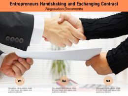 Entrepreneurs Handshaking And Exchanging Contract Negotiation Documents