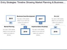 Entry Strategies Timeline Showing Market Planning And Business Case Development