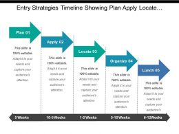 Entry Strategies Timeline Showing Plan Apply Locate Organize And Launch