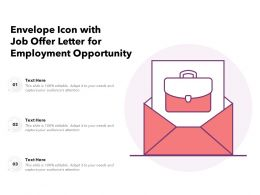 Envelope Icon With Job Offer Letter For Employment Opportunity
