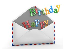 Envelope With Happy Birthday Text Stock Photo