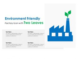 Environment Friendly Factory Icon With Two Leaves