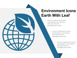 Environment Icons Earth With Leaf