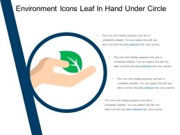 Environment Icons Leaf In Hand Under Circle