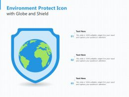 Environment Protect Icon With Globe And Shield