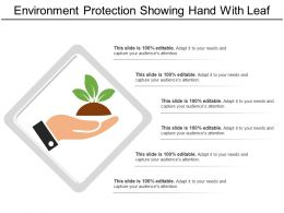 Environment Protection Showing Hand With Leaf