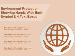Environment Protection Showing Hands With Earth Symbol And 4 Text Boxes