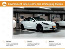 Environment Safe Electric Car At Charging Station