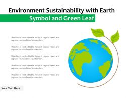 Environment Sustainability With Earth Symbol And Green Leaf
