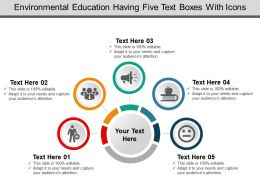 Environmental Education Having Five Text Boxes With Icons