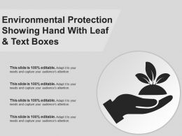 Environmental Protection Showing Hand With Leaf And Text Boxes