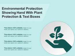 Environmental Protection Showing Hand With Plant Protection And Text Boxes