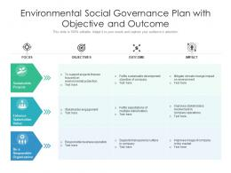 Environmental Social Governance Plan With Objective And Outcome