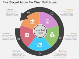 eo Five Staged Arrow Pie Chart With Icons Flat Powerpoint Design