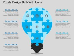 eo Puzzle Design Bulb With Icons Flat Powerpoint Design