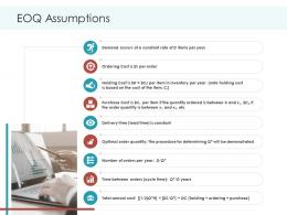 EOQ Assumptions Planning And Forecasting Of Supply Chain Management Ppt Designs