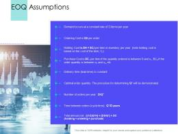 EOQ Assumptions Supply Chain Management Solutions Ppt Structure