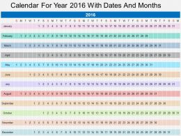 Ep Calendar For Year 2016 With Dates And Months Flat Powerpoint Design