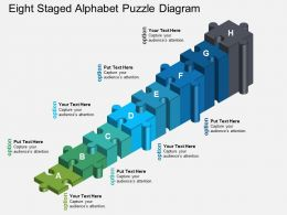 ep Eight Staged Alphabet Puzzle Diagram Powerpoint Template