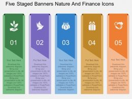 ep Five Staged Banners Nature And Finance Icons Flat Powerpoint Design