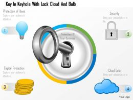 Ep Key In Keyhole With Lock Cloud And Bulb Powerpoint Template