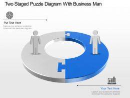 Ep Two Staged Puzzle Diagram With Business Man Powerpoint Template Slide