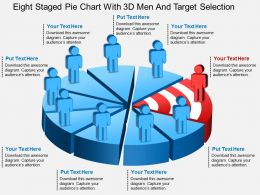 eq Eight Staged Pie Chart With 3d Men And Target Selection Powerpoint Template