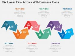 eq Six Linear Flow Arrows With Business Icons Flat Powerpoint Design
