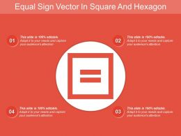 Equal Sign Vector In Square And Hexagon