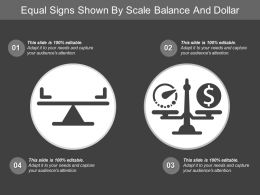 Equal Signs Shown By Scale Balance And Dollar