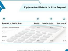 Equipment And Material For Price Proposal Ppt Powerpoint Presentation Professional