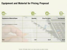 Equipment And Material For Pricing Proposal Ppt Powerpoint Presentation Professional Graphics Pictures