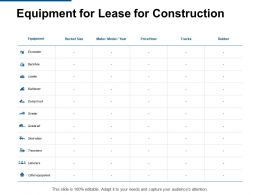 Equipment For Lease For Construction Excavator Ppt Powerpoint Slides