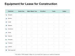 Equipment For Lease For Construction Year Ppt Powerpoint Presentation Slides