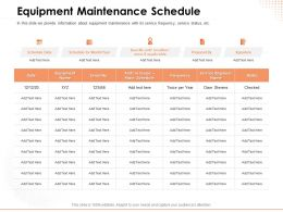 Equipment Maintenance Schedule Service Ppt Powerpoint Presentation Layout Ideas