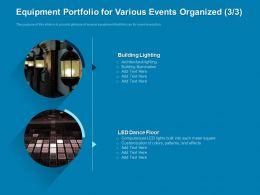 Equipment Portfolio For Various Events Organized Building Powerpoint Presentation Graphics Tutorials