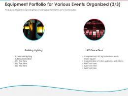 Equipment Portfolio For Various Events Organized Ppt Powerpoint Presentation Summary Design Inspiration