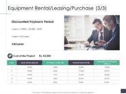 Equipment Rental Leasing Purchase Discounted Business Analysi Overview Ppt Formats