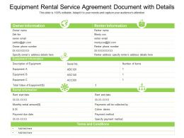 Equipment Rental Service Agreement Document With Details