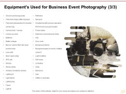 Equipments Used For Business Event Photography Batteries Ppt Powerpoint Presentation Slides
